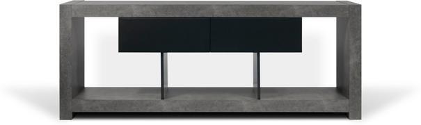 TemaHome Nara Modern TV Table Stand - Concrete and Matt Black