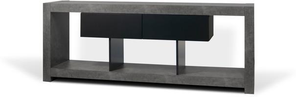 TemaHome Nara Modern TV Table Stand - Concrete and Matt Black image 2