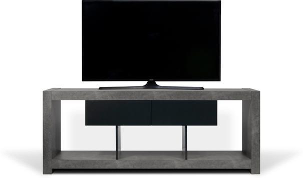 TemaHome Nara Modern TV Table Stand - Concrete and Matt Black image 3