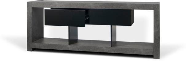 TemaHome Nara Modern TV Table Stand - Concrete and Matt Black image 4