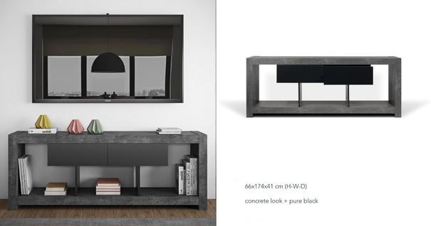 TemaHome Nara Modern TV Table Stand - Concrete and Matt Black image 5