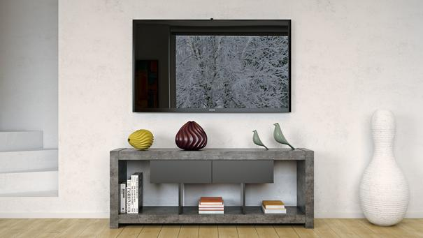 TemaHome Nara Modern TV Table Stand - Concrete and Matt Black image 7