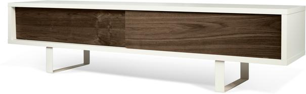 TemaHome Slide Retro TV Table - Matt White and Walnut image 2