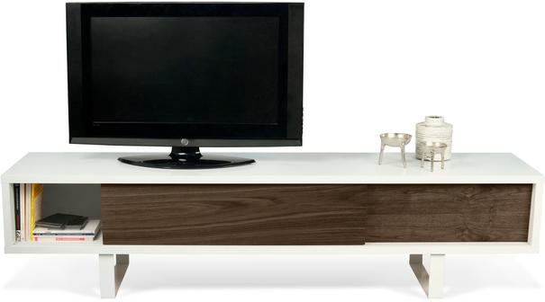 TemaHome Slide Retro TV Table - Matt White and Walnut image 3