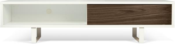 TemaHome Slide Retro TV Table - Matt White and Walnut image 4
