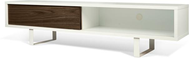 TemaHome Slide Retro TV Table - Matt White and Walnut image 5