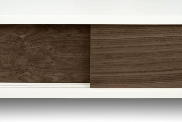 TemaHome Slide Retro TV Table - Matt White and Walnut image 6