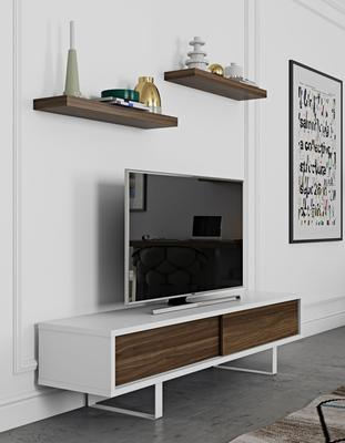 TemaHome Slide Retro TV Table - Matt White and Walnut image 8