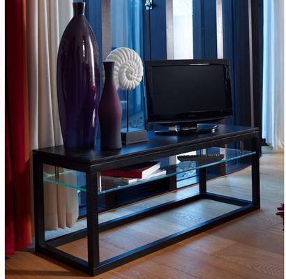Cordoba Small TV Unit with Glass Shelf - Black Wenge image 2
