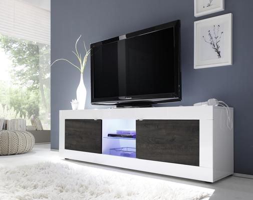 Urbino Collection Big TV Unit with LED Spotlight - Gloss White / Wenge