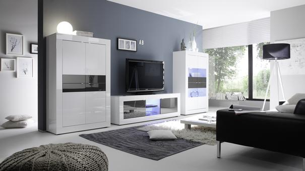 Urbino Collection Big TV Unit with LED Spotlight - Gloss White / Wenge image 2