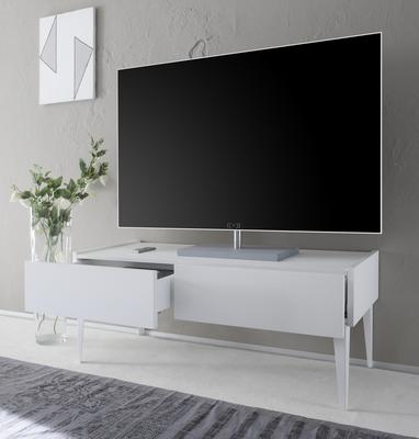REX High Two Drawer TV Stand - Matt White Lacquer