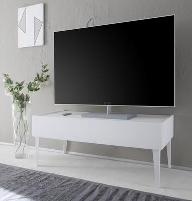 REX High Two Drawer TV Stand - Matt White Lacquer image 2
