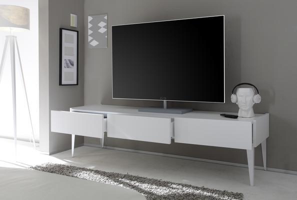 REX Long High Three Drawer TV Stand - Matt White Lacquer image 2