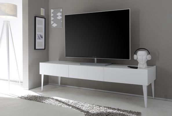 REX Long High Three Drawer TV Stand - Matt White Lacquer