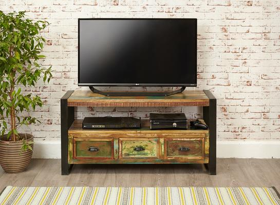 Shoreditch Rustic TV Cabinet Reclaimed Wood image 2