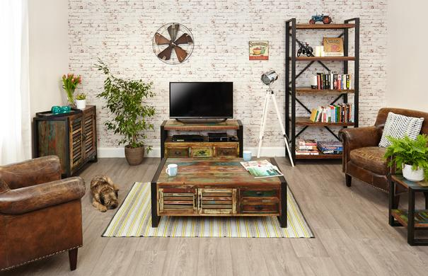 Shoreditch Rustic TV Cabinet Reclaimed Wood image 3
