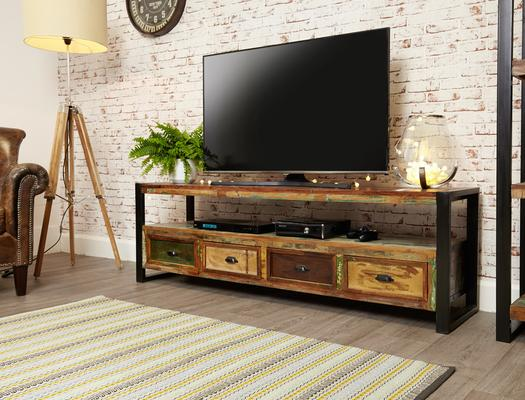 Shoreditch Rustic Widescreen TV Unit Reclaimed Wood