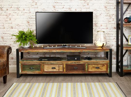 Shoreditch Rustic Widescreen TV Unit Reclaimed Wood image 2