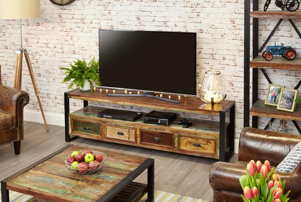 Shoreditch Rustic Widescreen TV Unit Reclaimed Wood image 3