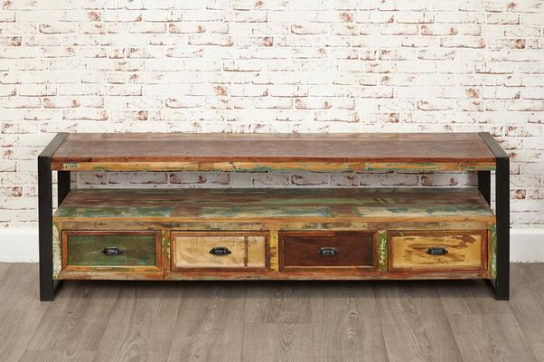 Shoreditch Rustic Widescreen TV Unit Reclaimed Wood image 4