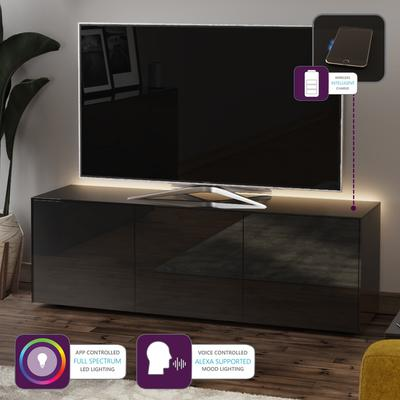 High Gloss Black TV Cabinet 150cm with Wireless Phone Charger image 2