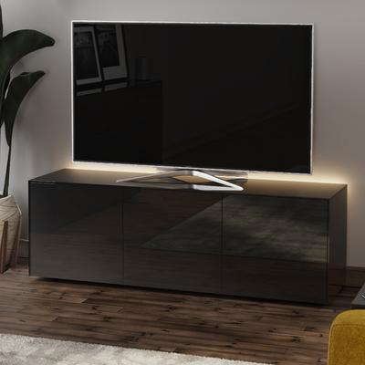High Gloss Black TV Cabinet 150cm with Wireless Phone Charger image 3