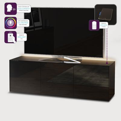 High Gloss Black TV Cabinet 150cm with Wireless Phone Charger image 4