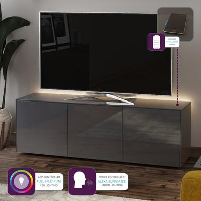 High Gloss Grey TV Cabinet 150cm with Wireless Phone Charger image 2