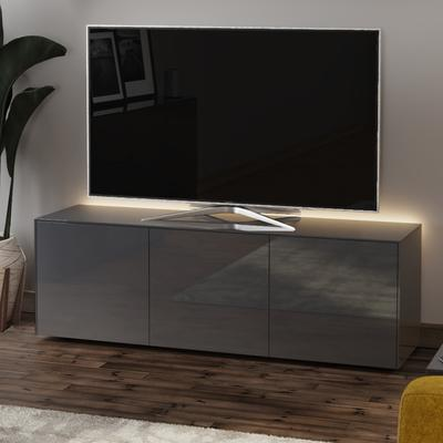 High Gloss Grey TV Cabinet 150cm with Wireless Phone Charger image 3