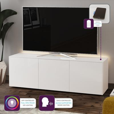 High Gloss White TV Cabinet 150cm with Wireless Phone Charger image 2
