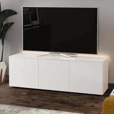High Gloss White TV Cabinet 150cm with Wireless Phone Charger image 3