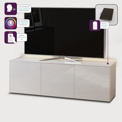 High Gloss White TV Cabinet 150cm with Wireless Phone Charger image 4