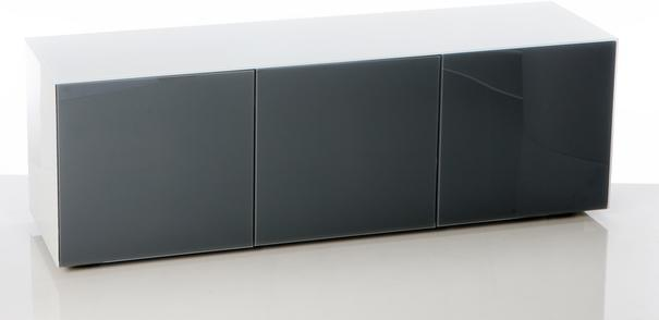 High Gloss White and Grey TV Cabinet 150cm with Wireless Phone Charging and Remote Control Eye image 2