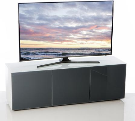 High Gloss White and Grey TV Cabinet 150cm with Wireless Phone Charging and Remote Control Eye