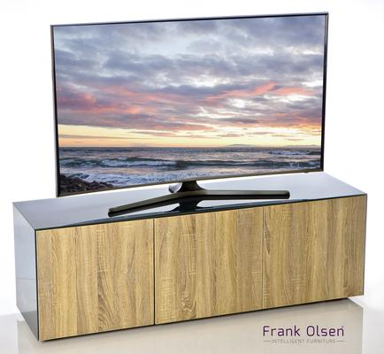 High Gloss Grey and Oak TV Cabinet 150cm with Wireless Phone Charging and Remote Control Eye image 2