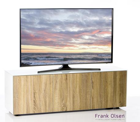 High Gloss White and Oak TV Cabinet 150cm with Wireless Phone Charging and Remote Control Eye