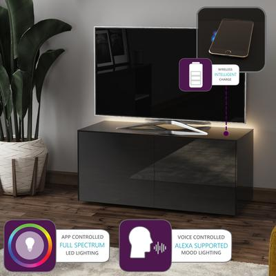 High Gloss Black TV Cabinet 110cm with Wireless Phone Charger image 2