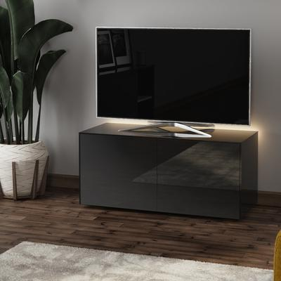 High Gloss Black TV Cabinet 110cm with Wireless Phone Charger image 3