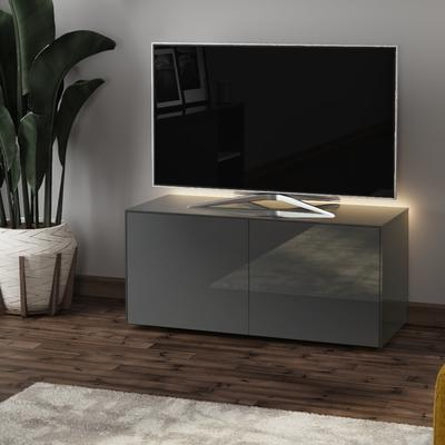 High Gloss Grey TV Cabinet 110cm with Wireless Phone Charging, LED Mood Lighting and Remote Control Eye image 3