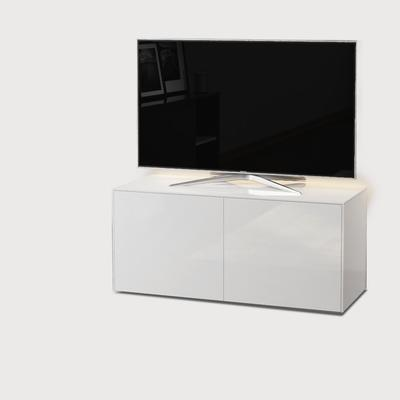 High Gloss White TV Cabinet 110cm with Wireless Phone Charging, LED Mood Lighting and Remote Control Eye