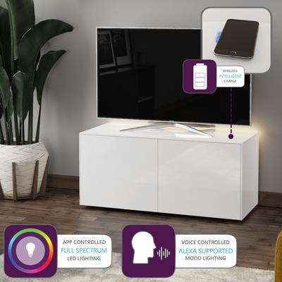 High Gloss White TV Cabinet 110cm with Wireless Phone Charging, LED Mood Lighting and Remote Control Eye image 2