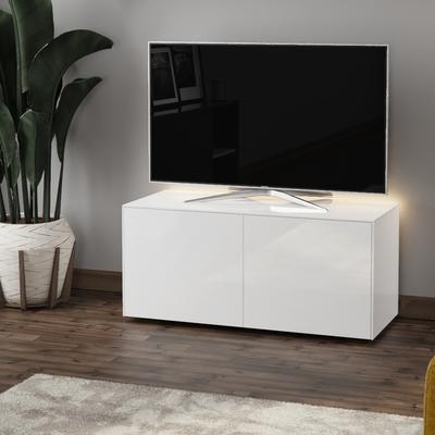 High Gloss White TV Cabinet 110cm with Wireless Phone Charging, LED Mood Lighting and Remote Control Eye image 3
