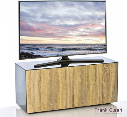 High Gloss Grey and Oak TV Cabinet 110cm with Wireless Phone Charging and Remote Control Eye image 2