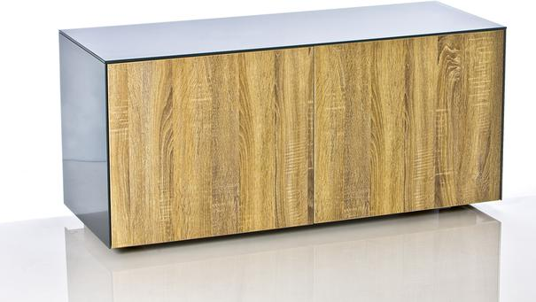 High Gloss Grey and Oak TV Cabinet 110cm with Wireless Phone Charging and Remote Control Eye image 10