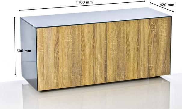 High Gloss Grey and Oak TV Cabinet 110cm with Wireless Phone Charging and Remote Control Eye image 9