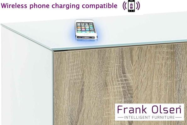 High Gloss White and Oak TV Cabinet 110cm with Wireless Phone Charging and Remote Control Eye image 3