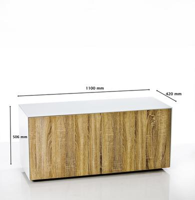High Gloss White and Oak TV Cabinet 110cm with Wireless Phone Charging and Remote Control Eye image 7