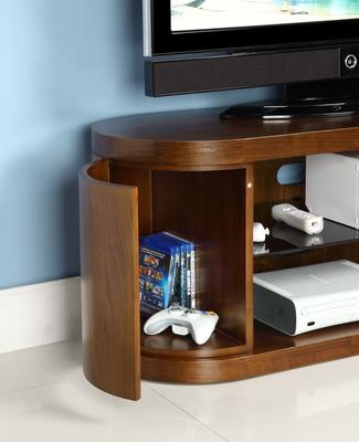 Jual Rounded TV Stand Walnut and Piano Black Glass JF207 image 3