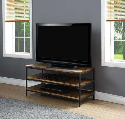 Jual Rustic TV Stand Oak with Metal Frame